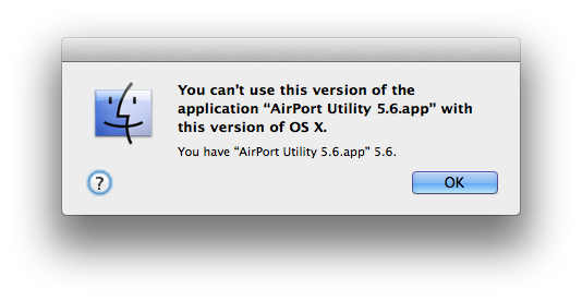 Error message when launching the utility on Mavericks.