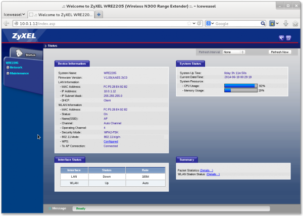 The Web Interface for the WRE2205