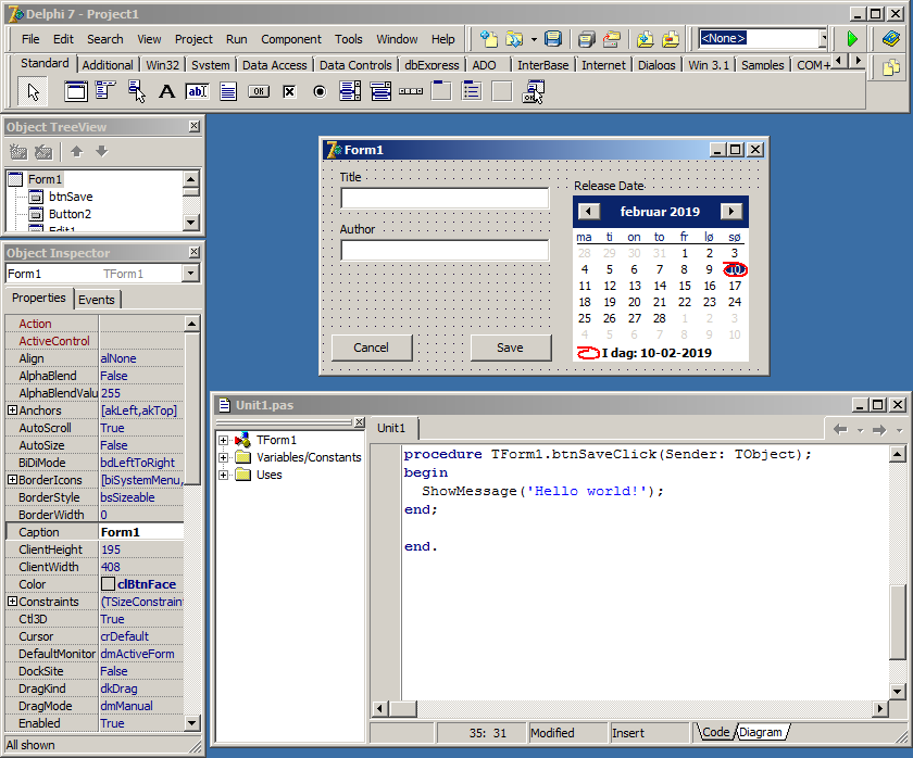 Screenshot of Delphi 7